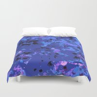 shabby chic Duvet Covers featuring Shabby Chic Blue Floral Abstract by Judy Palkimas