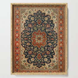 Central Persia 19th Century Authentic Colorful Dark Blue Red Tan Vintage Patterns Serving Tray