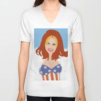 ginger V-neck T-shirts featuring Ginger. by A.S.M Designs
