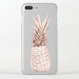 Pineapple Rose Gold Marble Clear iPhone Case