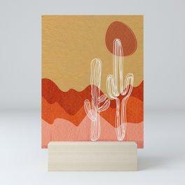 Saguaro Cactus in a Yellow Desert Landscape Mini Art Print