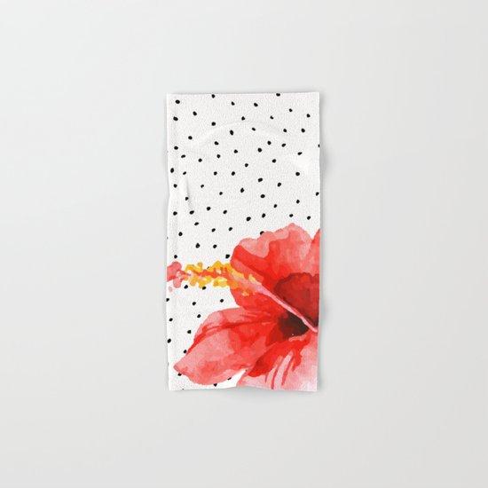 Tropical flower on dots Hand & Bath Towel