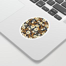 Navy Blue, Orange, Cream, Gold & White Floral Pattern Sticker