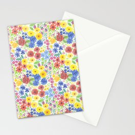 Floral watercolor pattern white Stationery Cards