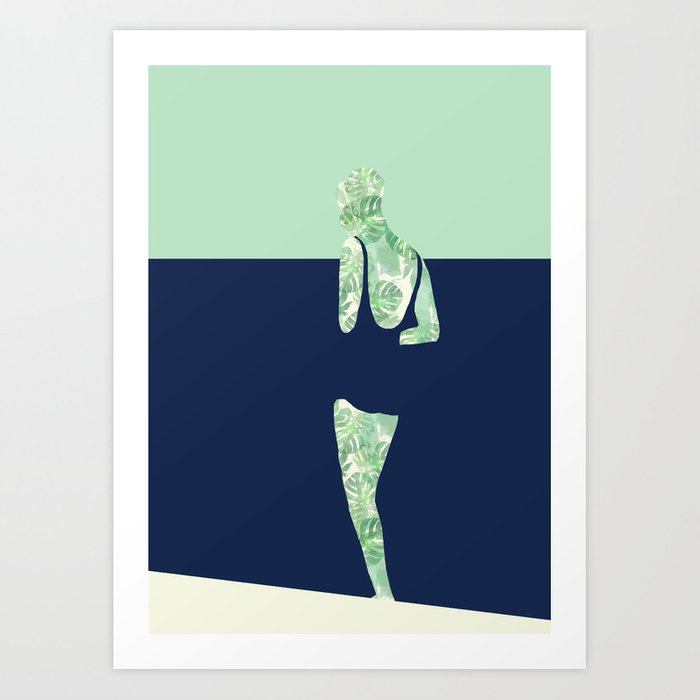 Back to the Beach (Watercolour Monstera) Art Print