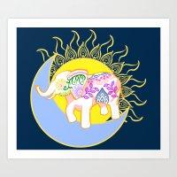 Boho Floral Elephant Sun and Moon Art Print