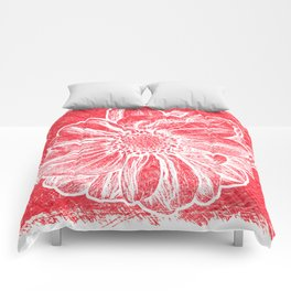 White Flower On Crayon Red Comforters
