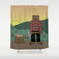 chuck Shower Curtains featuring How much wood could a wood bear chuck by ALFIE creative design