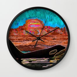 Orca Sunset Wall Clock
