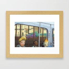 The Adventurers on the subway Framed Art Print