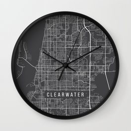 Clearwater Map, USA - Gray Wall Clock