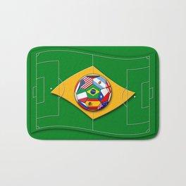 football field looks like Brazil flag with ball Bath Mat
