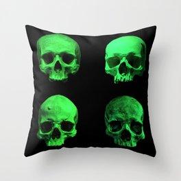 Skull quartet green Throw Pillow