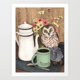 Coffee Owl Art Print