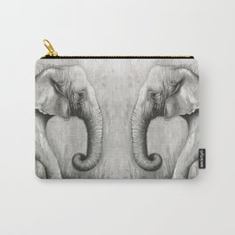 Elephant Black and White Watercolor Animals Carry-All Pouch