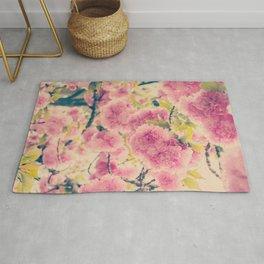 Sweet Pink Pompom Blossoms of Yaezakura Cherry -- Spring Botanical in Vintage Tones Rug