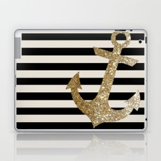 GOLD GLITTER ANCHOR IN BLACK AND NUDE Laptop & iPad Skin