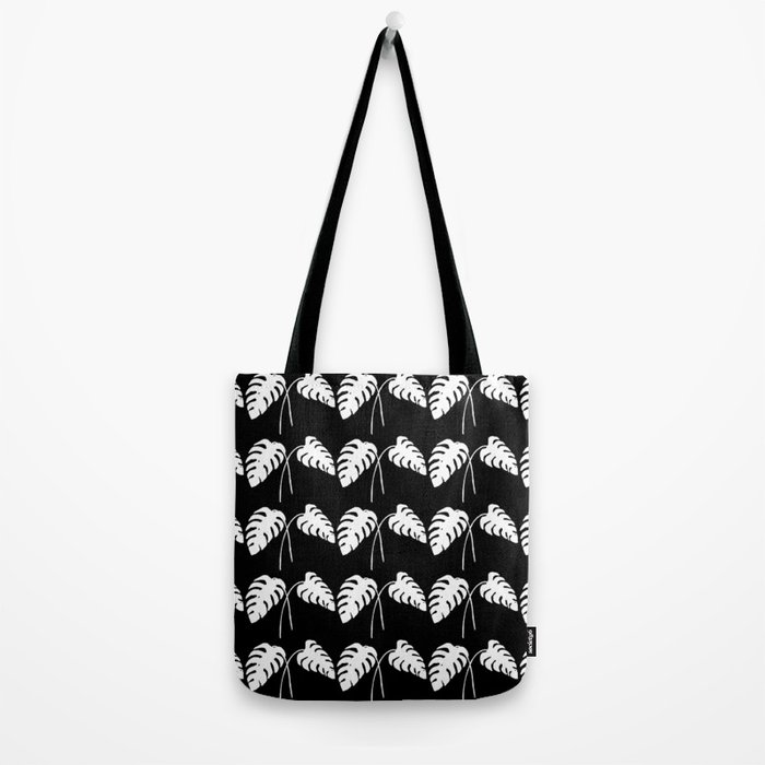 Tropical Monstera Leaves White on Black Tote Bag