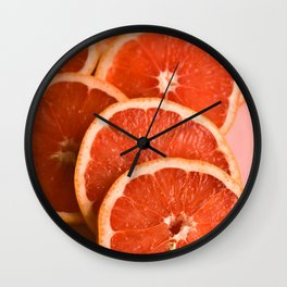 Grapefruit on Pink Wall Clock