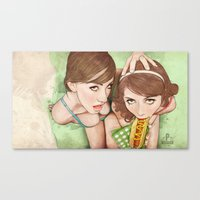 girls Canvas Prints featuring Life's a Picnic, Bring Your Friend by keith p. rein