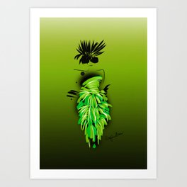 Fashion model looking pretty in lime silk couture party dress Art Print