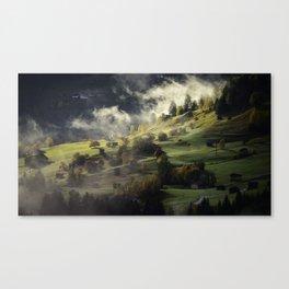 Twilight Fog Settling on Mountain Village Canvas Print