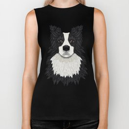 Black Border Collie Biker Tank