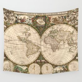 Vintage Map of The World (1660) Wall Tapestry