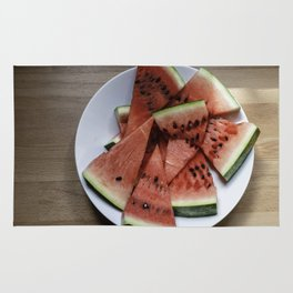Flat lay of  watermelon on the wooden surface Rug