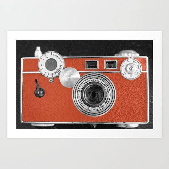 Tangerine Tango retro vintage phone Art Print