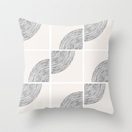 Threads; Black, White and Neutral Tile Pattern Throw Pillow