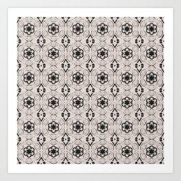 Bridal Blush Floral Geometric Pattern Art Print