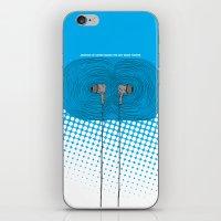 headphones iPhone & iPod Skins featuring Headphones by Miguel Villasanta
