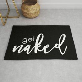 get naked // white on black Rug