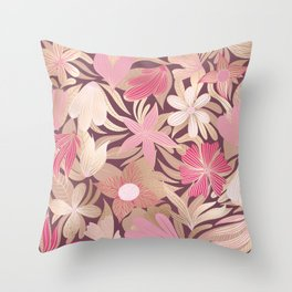 Gold Pink Burgundy Floral Leaves Illustrations Throw Pillow