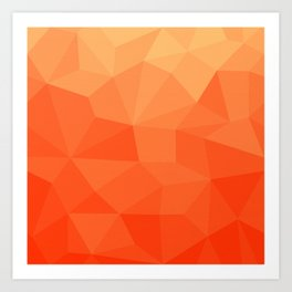 Abstract Geometric Gradient Pattern between Pure Red and very light Orange Art Print