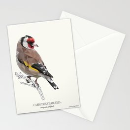 """European goldfinch - """"Vintage"""" low poly digital art Stationery Cards"""