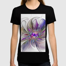Energetic, Abstract And Colorful Fractal Art Flower T-shirt