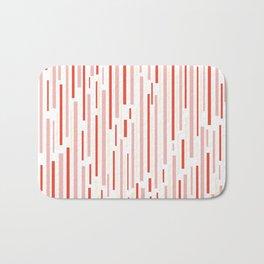 Leitungen Minimalist Pink, Red, Cream, and White Interrupted Line Pattern Bath Mat