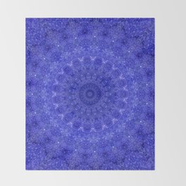 Cosmos Mandala II Cobalt Blue Throw Blanket
