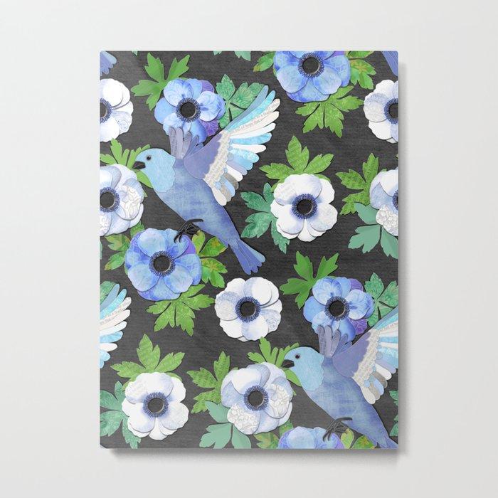 Blue Bird & Anemone Collage Metal Print