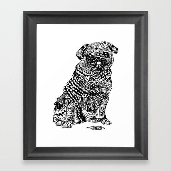Pug Feather Framed Art Print