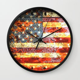 American Flag On Rusted Riveted Metal Door Wall Clock