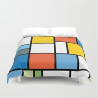 simpsons Duvet Covers featuring The Colors of / Mondrian Series - Simpsons by hyos