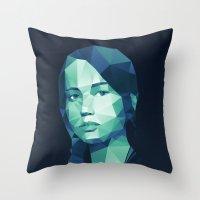 katniss Throw Pillows featuring Katniss Everdeen by Dr.Söd