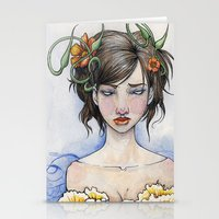 three of the possessed Stationery Cards featuring Possessed By Beauty by Rin Ascher