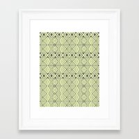 lime green Framed Art Prints featuring Lime Green Aztec by Pom Graphic Design
