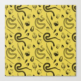 Snake and Tulip Pattern Canvas Print