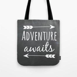 Adventure Awaits Chalkboard Tote Bag