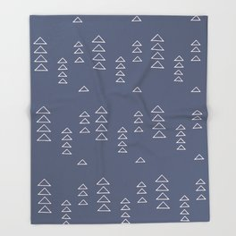 Modern Minimalist Triangle Pattern in Slate Blue Throw Blanket